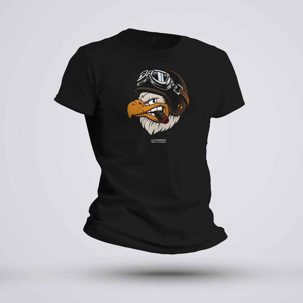 maglietta biker Eagle nera