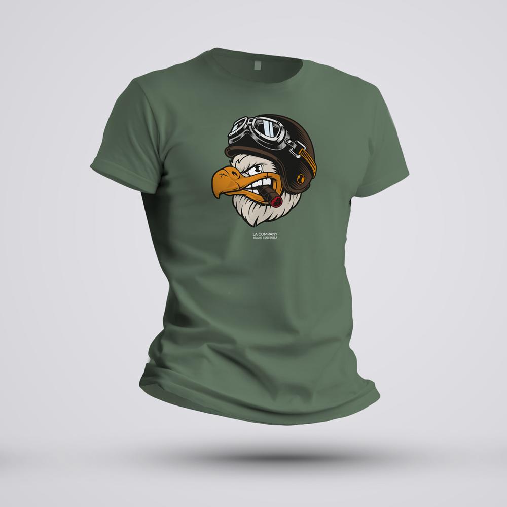 maglietta biker Eagle verde militare
